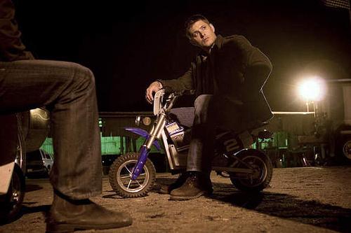 jensen on little bike so funny