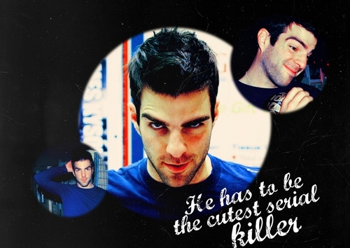 Zachary Quinto wallpaper probably containing a sign titled Cutest Serial Killer