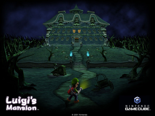 Luigi wallpaper possibly containing a lychgate entitled Luigi's Mansion