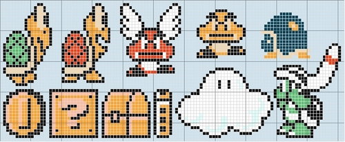 Super Mario Bros. achtergrond titled Mario Characters Stitch Patterns