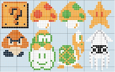 super mario bros wallpaper entitled Mario Characters Stitch Patterns