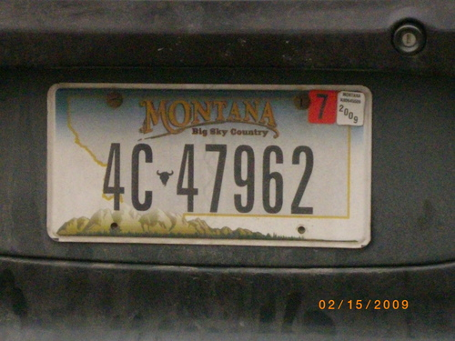 Owen's licence plate