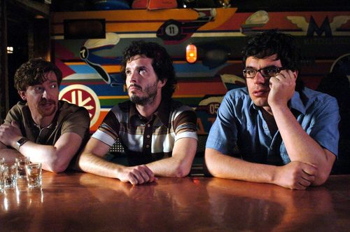Flight of the Conchords wallpaper possibly containing a sign, a street, and a drawing room entitled boom