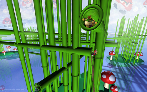Super Mario Bros. wallpaper entitled 3D Mario Land Wallpaper