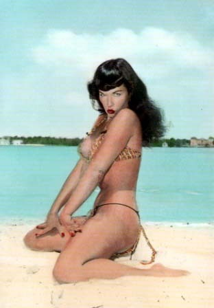 pin up wallpaper with a bikini called Bettie Page