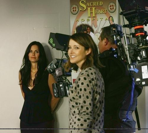 Christa and Courteney cox On the set of scrubs