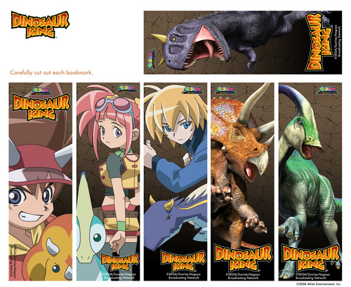 Dinosaur King bookmarks