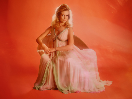Bewitched wallpaper containing a gown and a dinner dress titled Elizabeth Montgomery