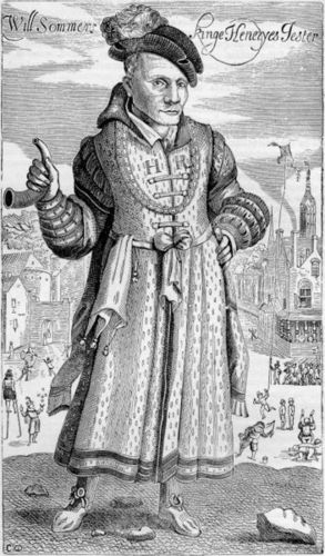 Engraving of Will Somers, Henry VIII's Jester