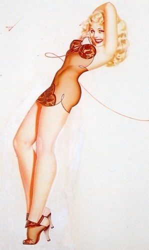 pin up girl wallpaper probably containing skin and a portrait entitled George Petty Pin - Up