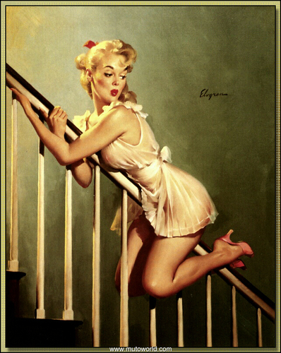 Pin Up Girls wallpaper possibly with bare legs, hosiery, and tights entitled Gil Elvgren Pin-Up