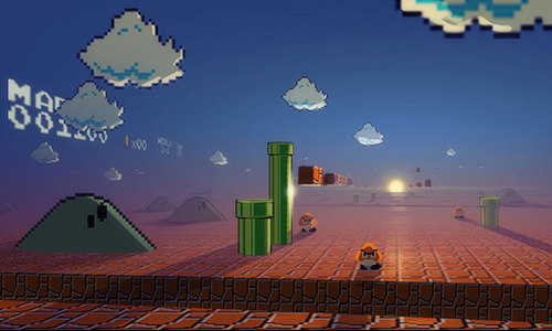 Super Mario Bros. wallpaper probably containing a street, a business district, and a refinery entitled Mario Bros 3D