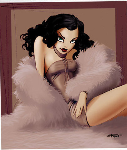 Pin Up Girls wallpaper probably with a fur coat entitled Pin-Up Toons