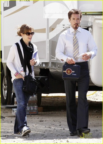 Robert Downey Jr. wallpaper with a business suit entitled RDJ on the Set of Iron Man 2