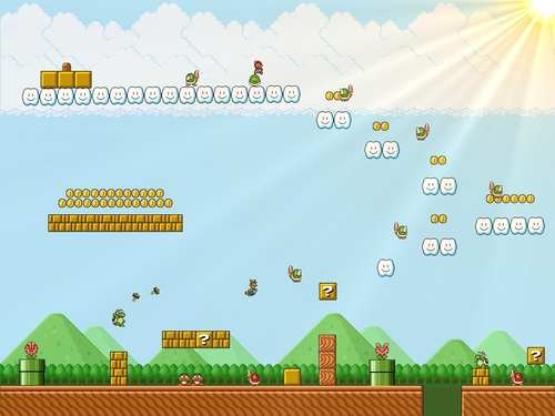 Super Mario Bros. wallpaper titled Sprite World Wallpaper