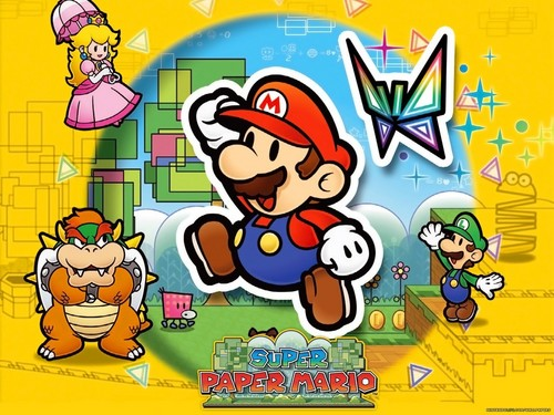 Super Mario Bros. wallpaper with anime entitled Super Paper Mario