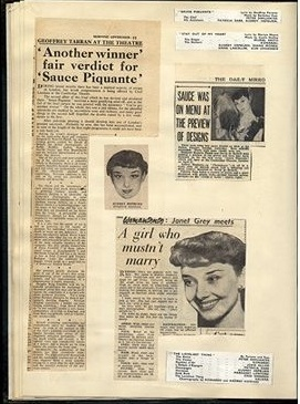 A page from Audrey's scrapbook collection of early reviews,1949-1951
