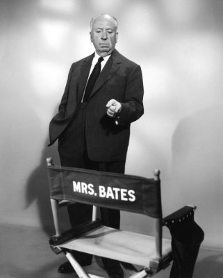 Psycho wallpaper with a business suit titled Alfred Hitchcok on the Set of Psycho