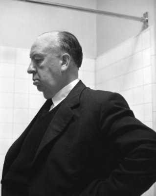 Psycho wallpaper containing a business suit entitled Alfred Hitchcok on the Set of Psycho