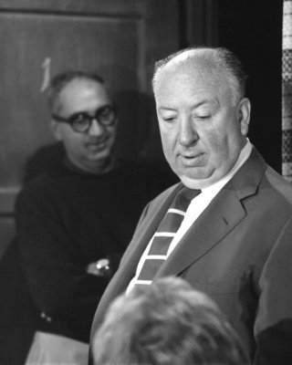 Alfred Hitchcok on the Set of Psycho
