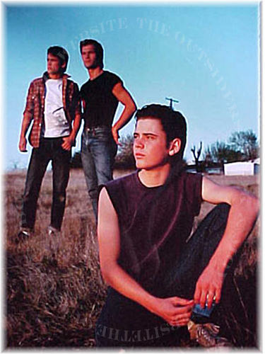 The Outsiders achtergrond possibly with a sign and a werkkleding called DARRY, SODAPOP, AND PONYBOY