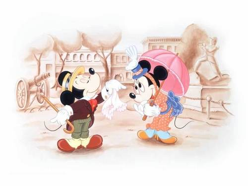 迪士尼 壁纸 entitled Mickey and Minnie 壁纸