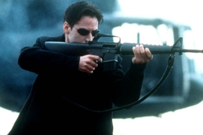The Matrix wallpaper with a rifleman entitled Neo