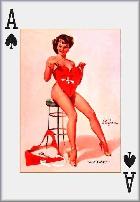 Pin up girl playing cards