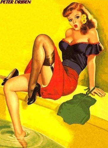 pin up girl wallpaper with attractiveness, a bustier, and a pakaian dalam titled Redhead