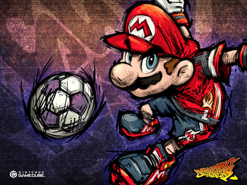 Super Mario Bros. wolpeyper probably with a putbol ball and anime titled Super Mario Strikers