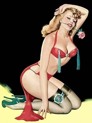 pin up girl wallpaper probably with a bikini and a pakaian renang, baju renang called Vintage Blonde With Tassles And Rose