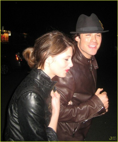 Ashley Greene wallpaper possibly containing a fedora called Ashley Greene & Ian Somerhalder