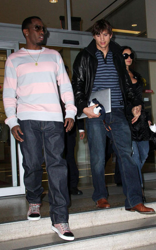 Ashton Kutcher with Demi Moore and Diddy  - ashton-kutcher Photo