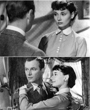 Audrey with actor Nigel Patrick in Young Wives' Tale, 1951