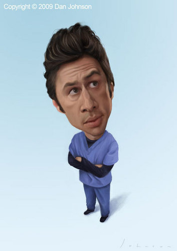 Zach Braff Hintergrund with a portrait titled Caricature of Zach