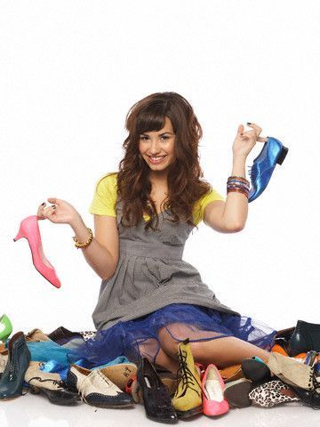 Demi Lovato with lots of shoes