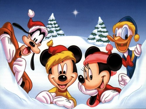 Mickey and Minnie Christmas achtergrond