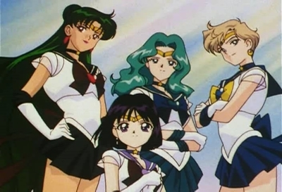 Sailor Uranus and Sailor Neptune karatasi la kupamba ukuta with anime titled Sailors Neptune,Uranus,Pluto & Saturn