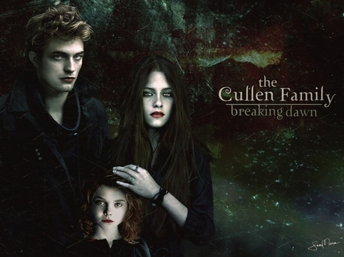 The Cullen Family wallpaper possibly with a sign and a portrait titled Edward, Renesmee, and Bella