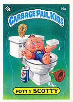 The 80s wallpaper probably containing a canned meat, a videocassette, and anime entitled Garbage Pail Kids