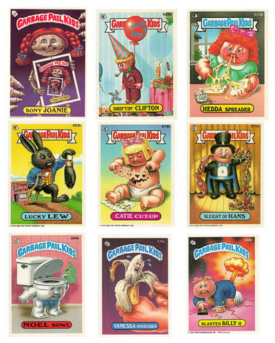 The 80s wallpaper possibly with a slot and a slot machine titled Garbage Pail Kids