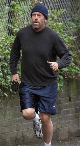 Hugh Laurie Takes His Dog For A Jog