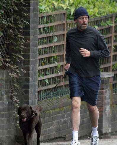 hugh laurie wife. Hugh Laurie Takes His Dog For