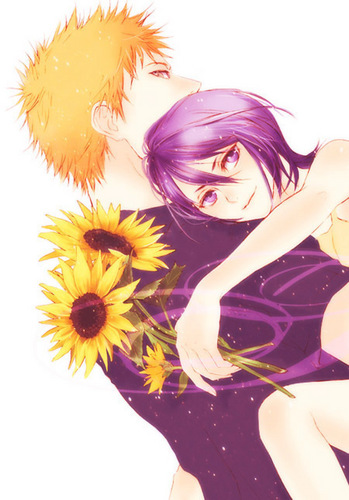 animê bleach wallpaper containing a bouquet titled IchigoxRukia (Fanart - Android)