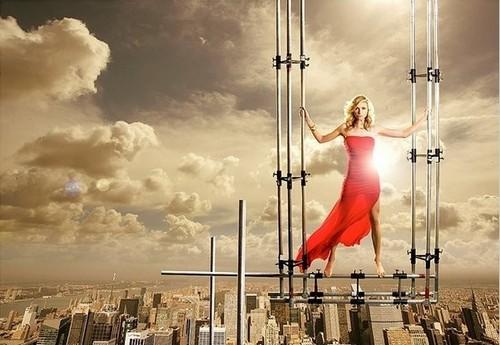 Sarah Chalke scaffolding bức ảnh shoot