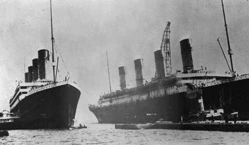 Sisters 'Olympic' and 'Titanic' side door side