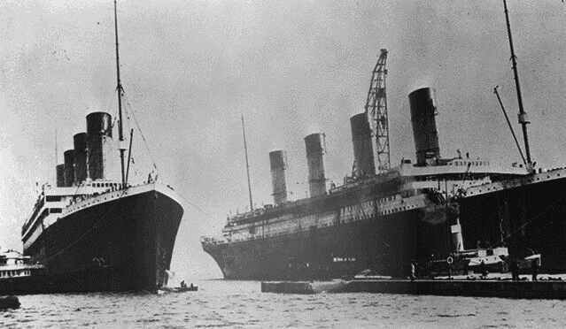 Sisters 'Olympic' and 'Titanic' side da side