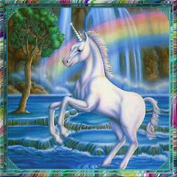 Unicorn Under A इंद्रधनुष