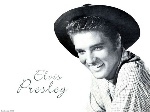 Elvis Presley achtergrond possibly containing a fedora and a boater titled Young Elvis