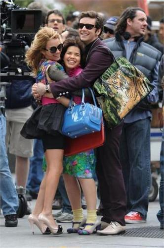 on set of ugly betty- april 23 09'
